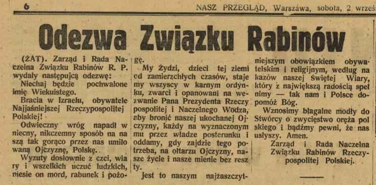 Odezwa Zarządu i Naczelnej Rady Rabinów RP z 2 września 1939 r., źródło: forum Żydów polskich, fzp.salon24.pl