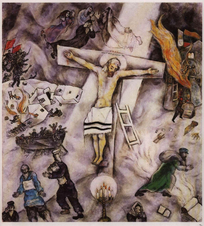 """M. Chagall, """"Białe ukrzyżowanie"""". Obraz ten pojawił się w Grobie Pańskim w Kościele św. Marcina przy ul. Piwnej w Warszawie w Wielki Piątek 2016."""