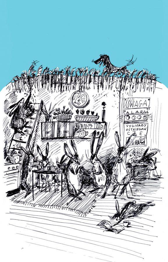 """ilustracja autorstwa Oli Szmidy pochodzi z książki """"Kresek, Bartek i całkiem zwyczajny początek"""""""